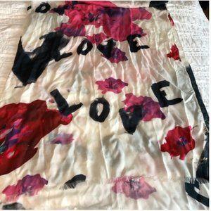 kate spade love floral pink white scarf nwot
